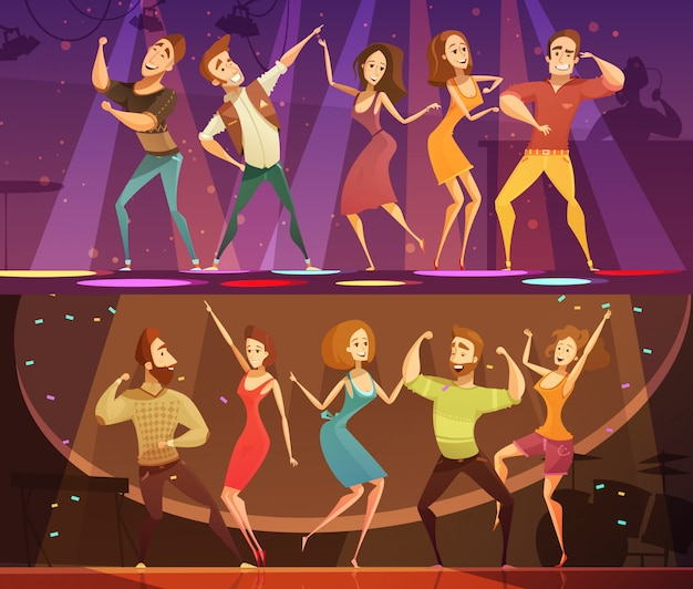 Night club disco party free motion modern dancing 2 horizontal cartoon festive banners set isolated Free Vector