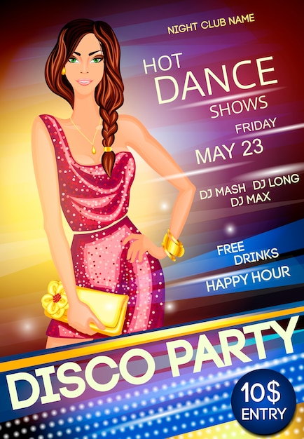 Night club disco party poster template Free Vector