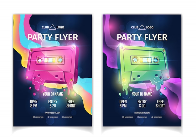 Night club dj party poster or flyer template, retro music event or concert cartoon vector advertising Free Vector