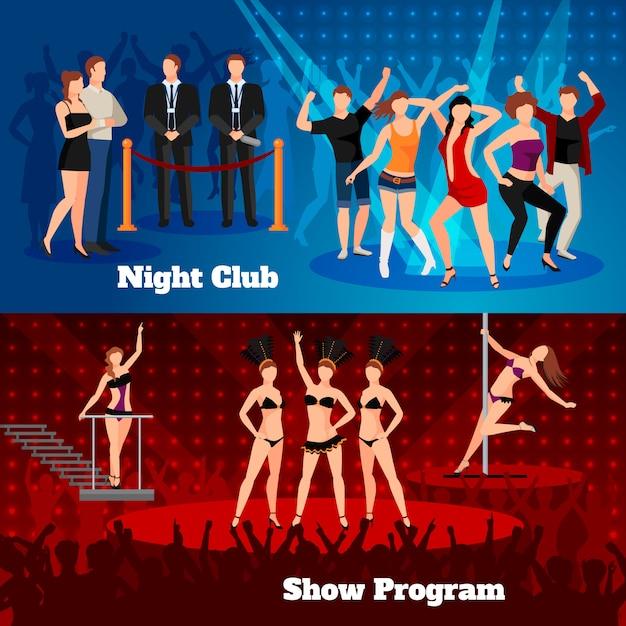 Night club erotic pole dance show program 2 flat horizontal banners Free Vector