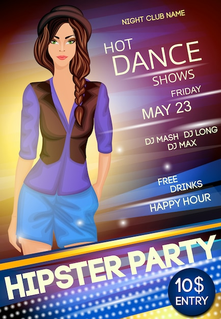 Night club hipster party poster template Free Vector