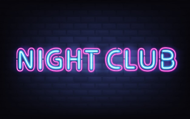 Night club neon lettering on dark brick wall. blue pink shining highly detailed realistic glowing signboard Free Vector