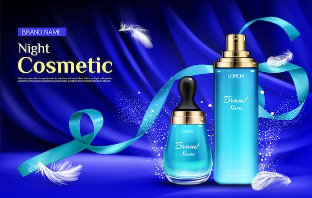 Night cosmetic beauty serum bottles with droplet and pump Free Vector