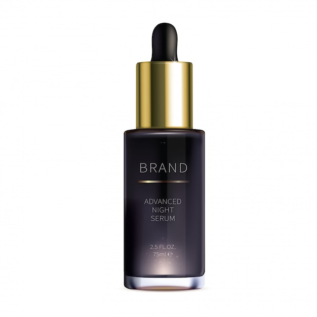 Night cosmetic serum for face skin care Free Vector