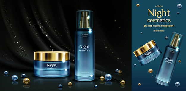 Night cosmetics beauty cream and serum bottles on black draped fabric with golden sparkles and pearls. Free Vector