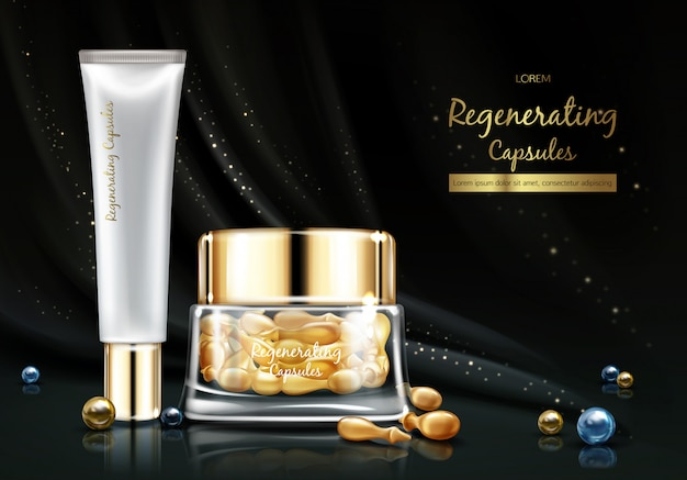 Night cosmetics line with skin regenerating oil or essence realistic vector banner. Free Vector