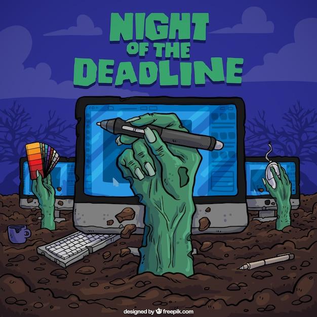 Night of the deadline panel Free Vector