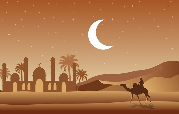 Night desert islamic mosque date palm tree arabian landscape illustration Premium Vector