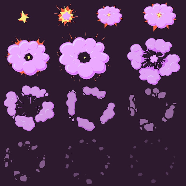 Night explode effect animation Premium Vector