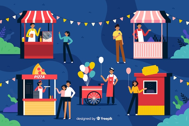 Night fair characters in flat design Free Vector