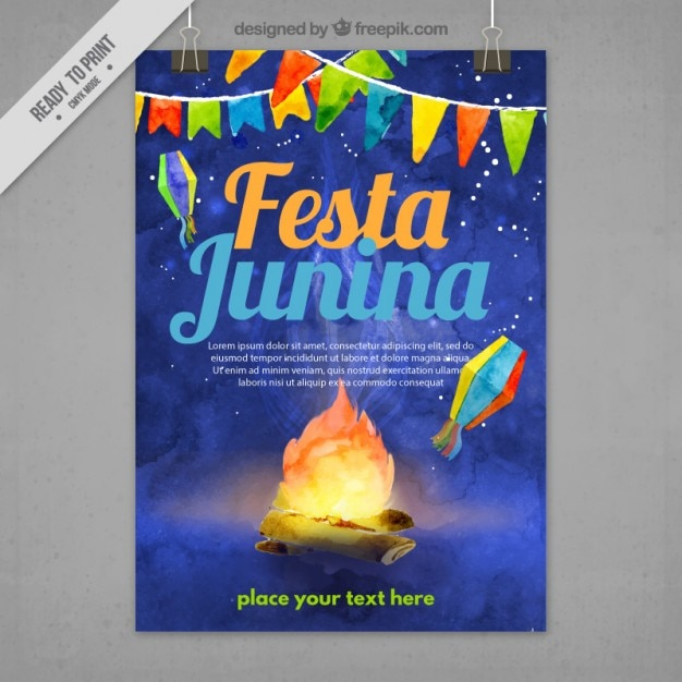 Night festa junina brochure in watercolor effect Free Vector