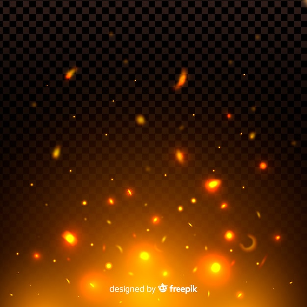 Night fire sparks and particles effect Free Vector