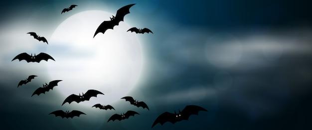 夜、満月とコウモリ、水平バナー。カラフルな怖いハロウィーンのイラスト。 Premiumベクター