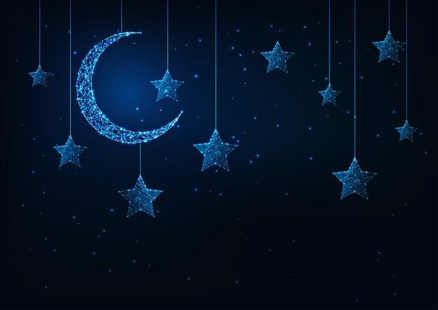Night holiday background with futuristic glowing low poly crescent moon and stars and dark blue. Premium Vector
