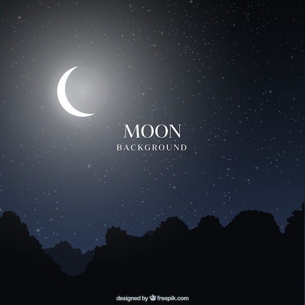 Night landscape background with moon Free Vector