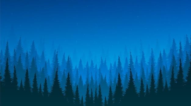 松の森と星のある夜の風景の背景、テキストの入力、ベクトル Premiumベクター