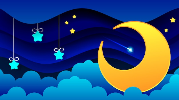 Night landscape of thick clouds the night sky a beautiful landscape Premium Vector