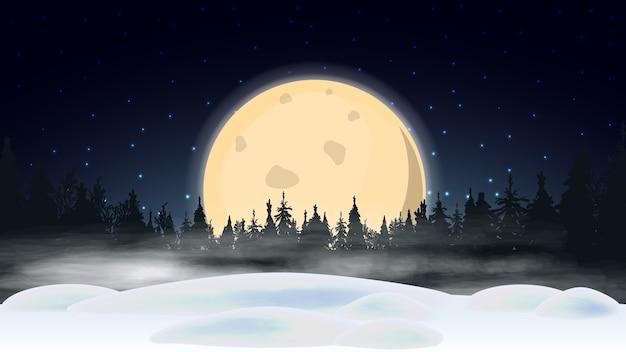 Ночной пейзаж с большой желтой луной, звездным голубым небом, сугробами, сосновым лесом на горизонте и густым туманом Premium векторы
