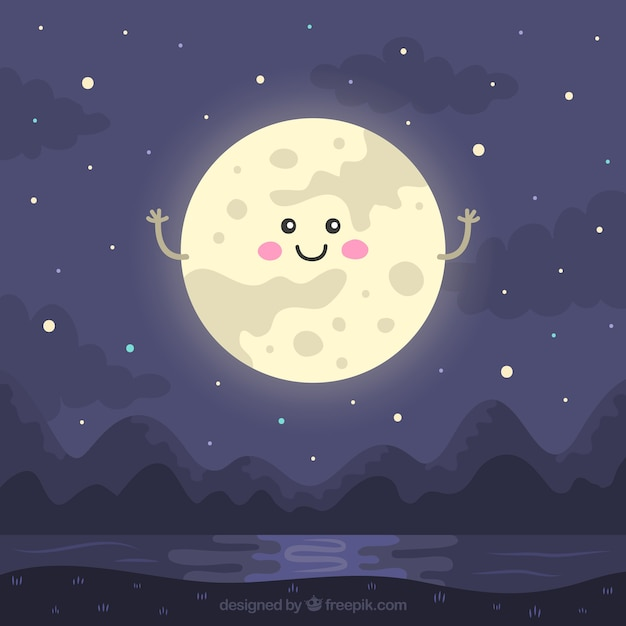 Night landscape with lovely moon Free Vector