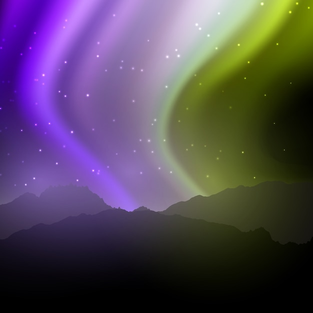 Night landscape with northern lights sky Free Vector