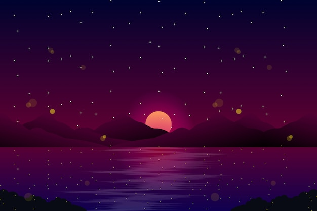 Night landscape with sea and sky with stars illustration Premium Vector