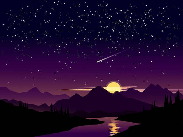 Night landscape with starry sky and shooting stars Premium Vector