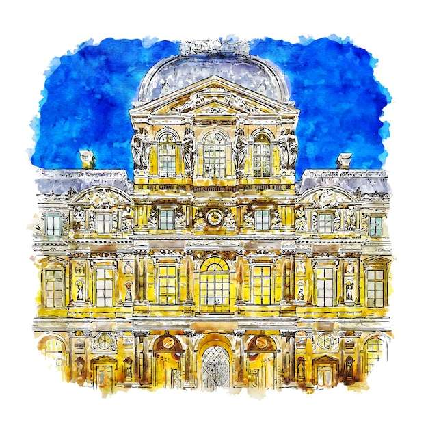 夜のルーブル美術館パリフランス水彩スケッチ手描きイラスト Premiumベクター