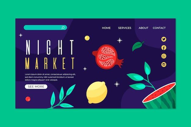 Night market landing page Free Vector