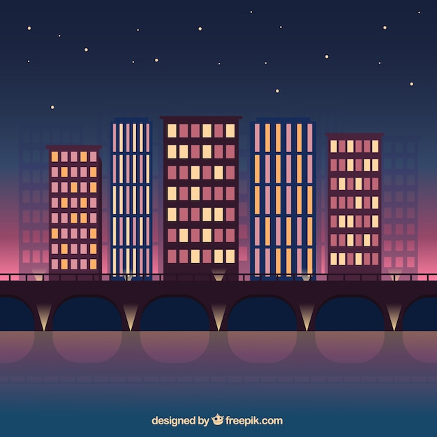 Night modern city background