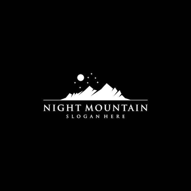 Night mountain silhouette logo template Premium Vector