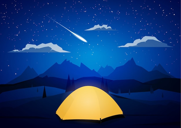 Night mountains landscape with tents camp and meteor. Premium Vector