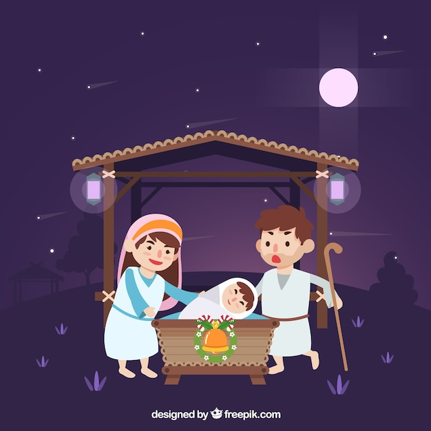 Night nativity scene background