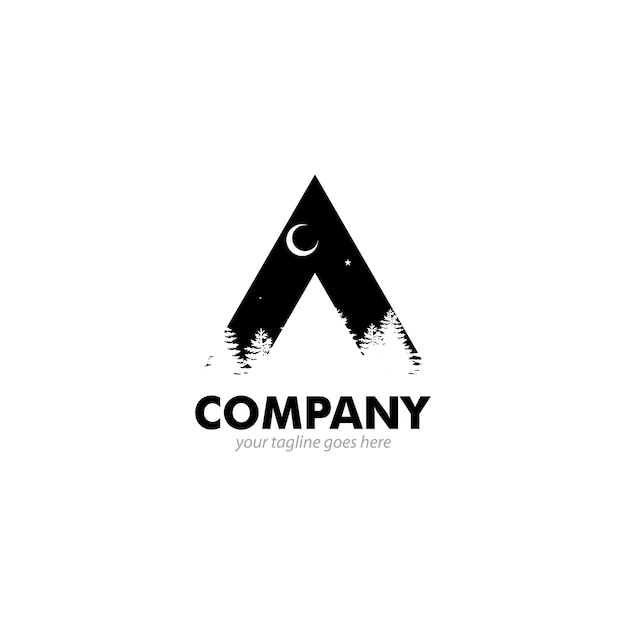 Night nature logo Premium Vector