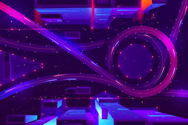 Night neon city with transport interchange top view. Free Vector