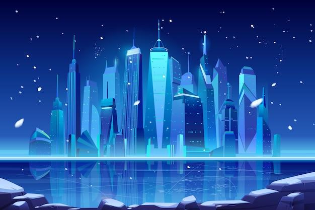Night neon winter city skyline at frozen bay. Free Vector