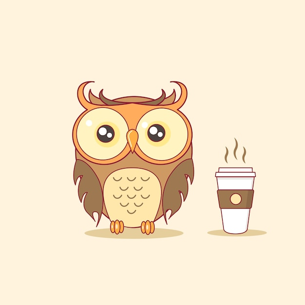Night owl with steaming coffee cup vector illustration