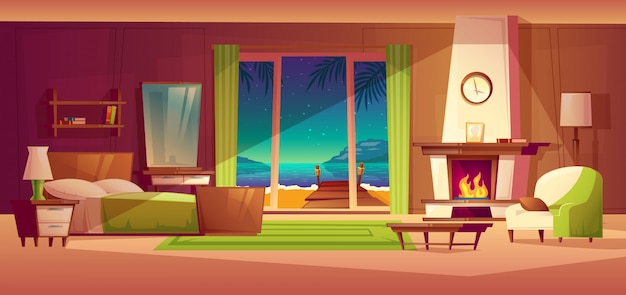 Night panorama of villa interior, window with seaside. light from fireplace Free Vector