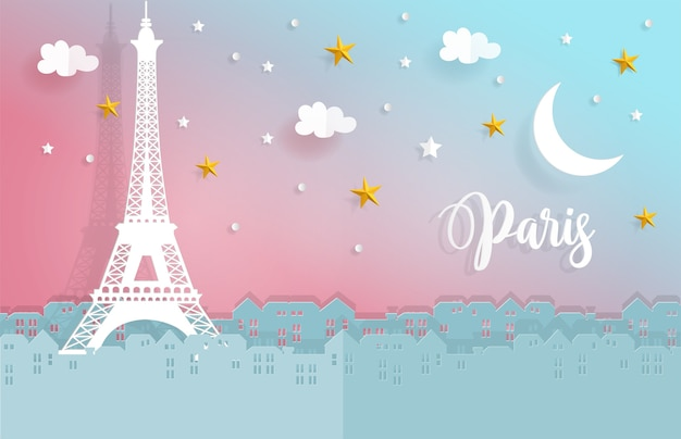 Night in paris with city and eiffel tower in paper cut style Premium Vector