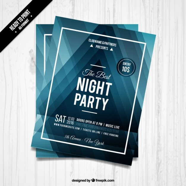 Night party blue triangles flyer Free Vector