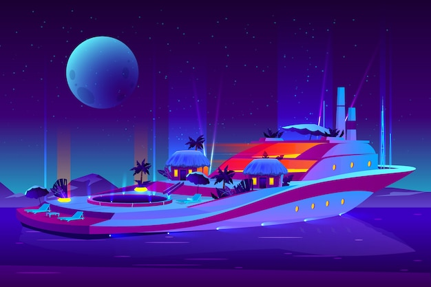 Night party on future floating hotel, cruise ship, yacht cartoon concept. Free Vector