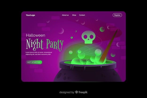 Night party halloween landing page Free Vector