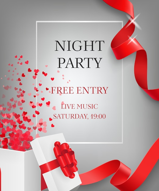 Night party lettering with open gift box Free Vector