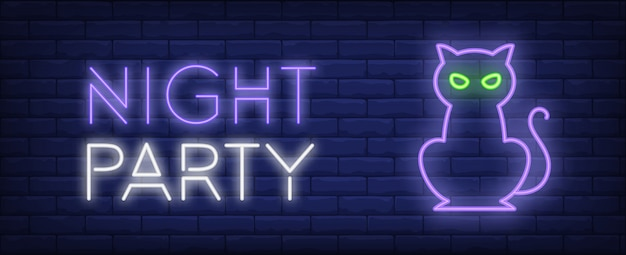 Night party neon style banner. cat on brick background. halloween, party, night event Free Vector