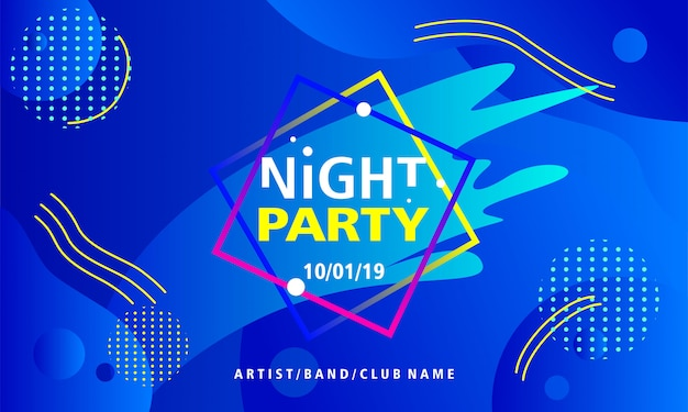 Night party poster design template on blue background Premium Vector