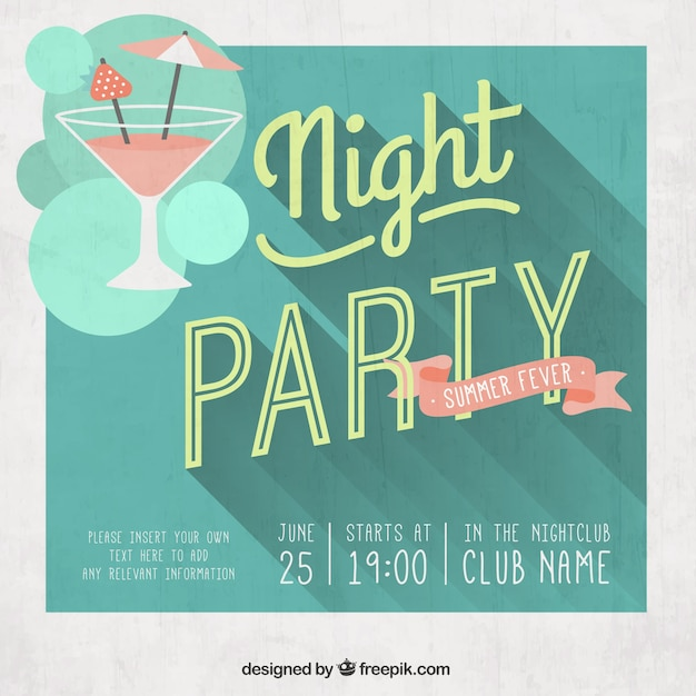 Night party poster in retro style Free Vector