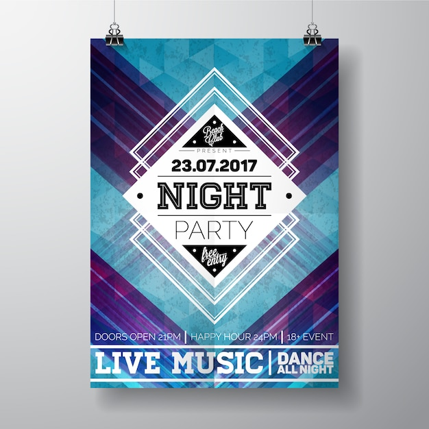 Night party poster template Vector | Free Download
