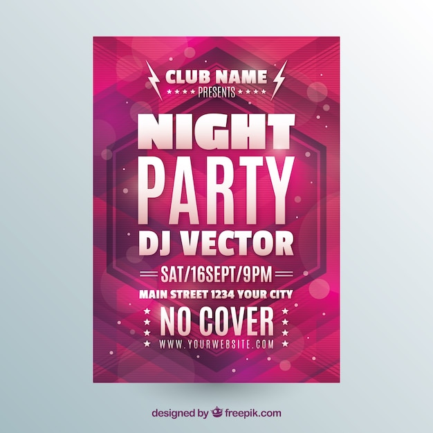 Night party poster with geometric style Free Vector