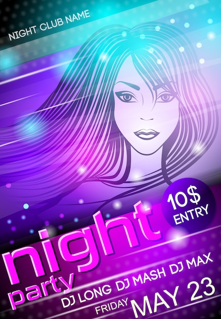 Night party sexy girl poster template Free Vector
