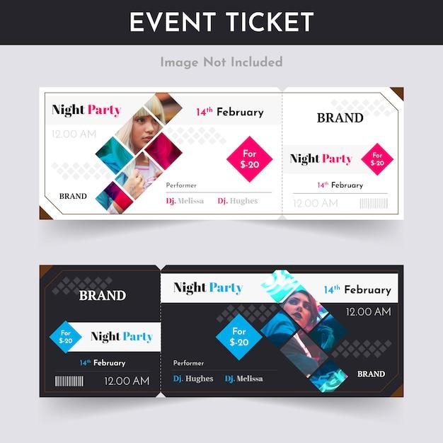 Night party ticket pass design Premium Vector