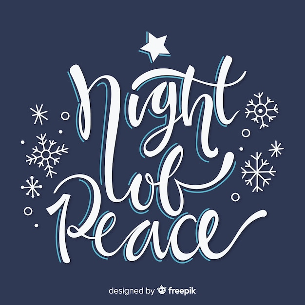 Night of peace christmas lettering Free Vector
